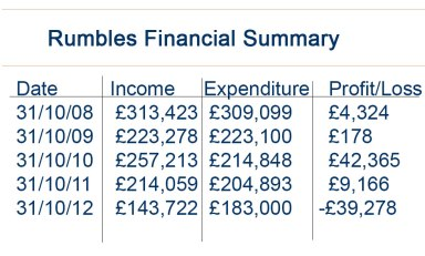 Rumbles Financial Summary