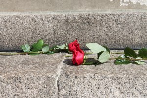 Flowers placed in front of the Council House