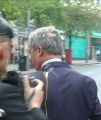 Nigel Farage was hit on the left shoulder with an egg on May 1st