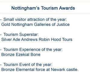 Nottingham won several awards at the Visit England Tourism ceremony.