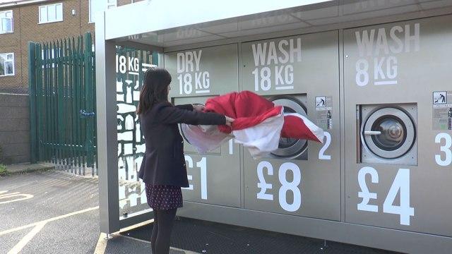 Nottingham student, Stella Jiang, using the new laundrette.