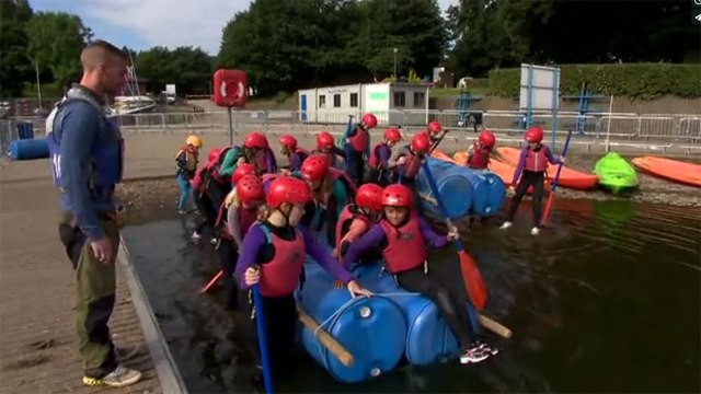 Groups of children test out their raft building prowess