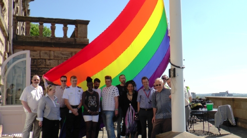 Nottinghamshire Pride at the raising of the LGBT+ flag at Nottingham Castle last May.
