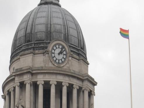 LGBT flag flying high in Market Square, Nottingham.